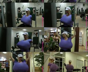 beshine In the gym with the worlds biggest boobs