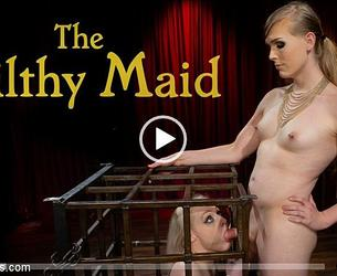 [TSPussyHunters.com / Kink.com] Roxxie Moth, Arielle Aquinas (The Filthy Maid: Roxxie Moth Disciplines Incompetent Arielle Aquinas) [24.02.2020 g., Blonde, Blowjob, Bondage, Cage, Cock Worship, Corporal Punishment, Creampie, Discipline, Dungeon, Feet, Fingering, High Heels, Hitachi, Latex, Natural Boobs, Pain, Petite, Pussy Eating, Role Play, Rope Bondage, Shaped, Slapping, Straight, Tattoo, TS, TS Fucks Female, Vaginal Penetration, White, Zapper, 720p]