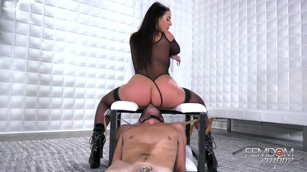 Femdom prostate milking with a dildo and cum in ass